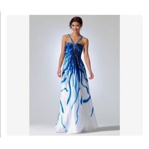 Cache Blue White Gown Beaded V Neck Watercolor